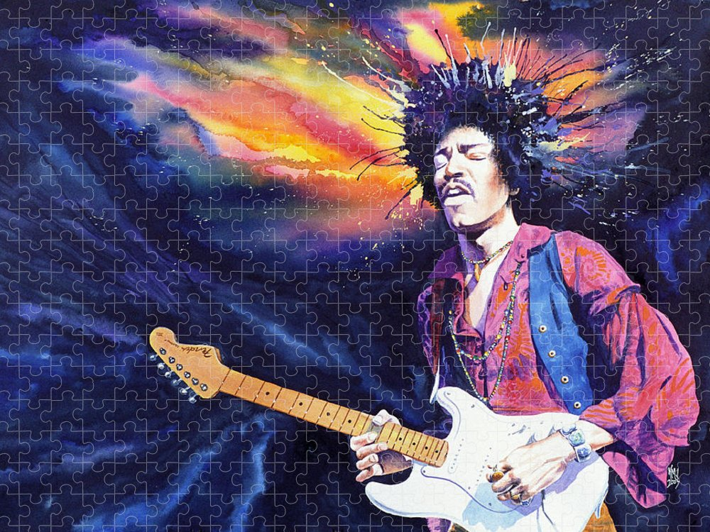 Jimi Hendrix Puzzle featuring the painting Hendrix by Ken Meyer jr