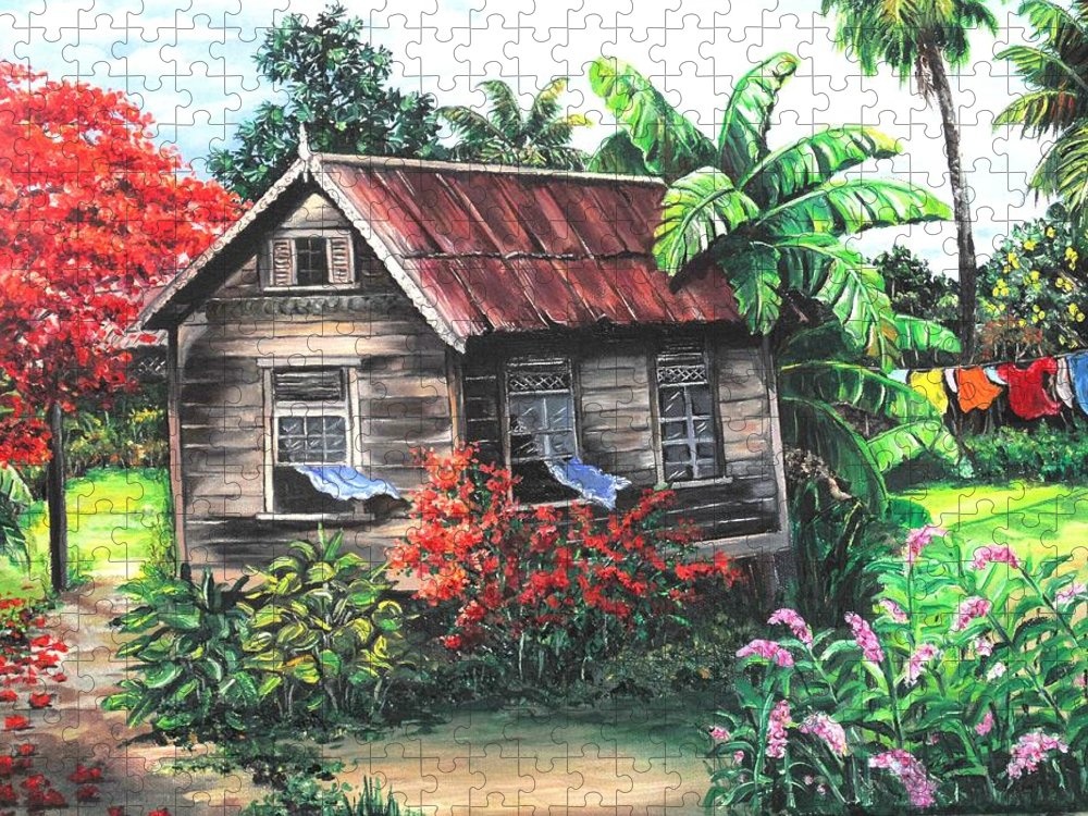 Caribbean House Puzzle featuring the painting Home Sweet Home by Karin Dawn Kelshall- Best