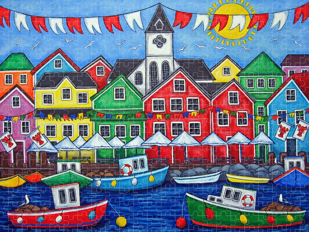 Boats Canada Colorful Docks Festival Fishing Flags Green Harbor Harbour Puzzle featuring the painting Hometown Festival by Lisa Lorenz