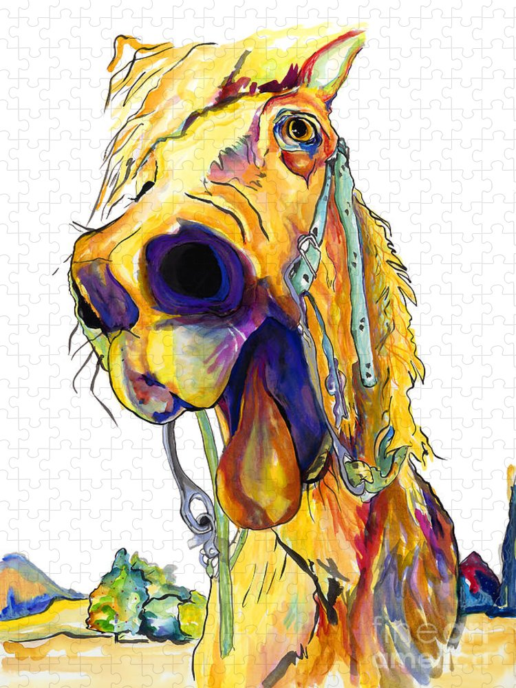 Animal Painting Puzzle featuring the mixed media Horsing Around by Pat Saunders-White