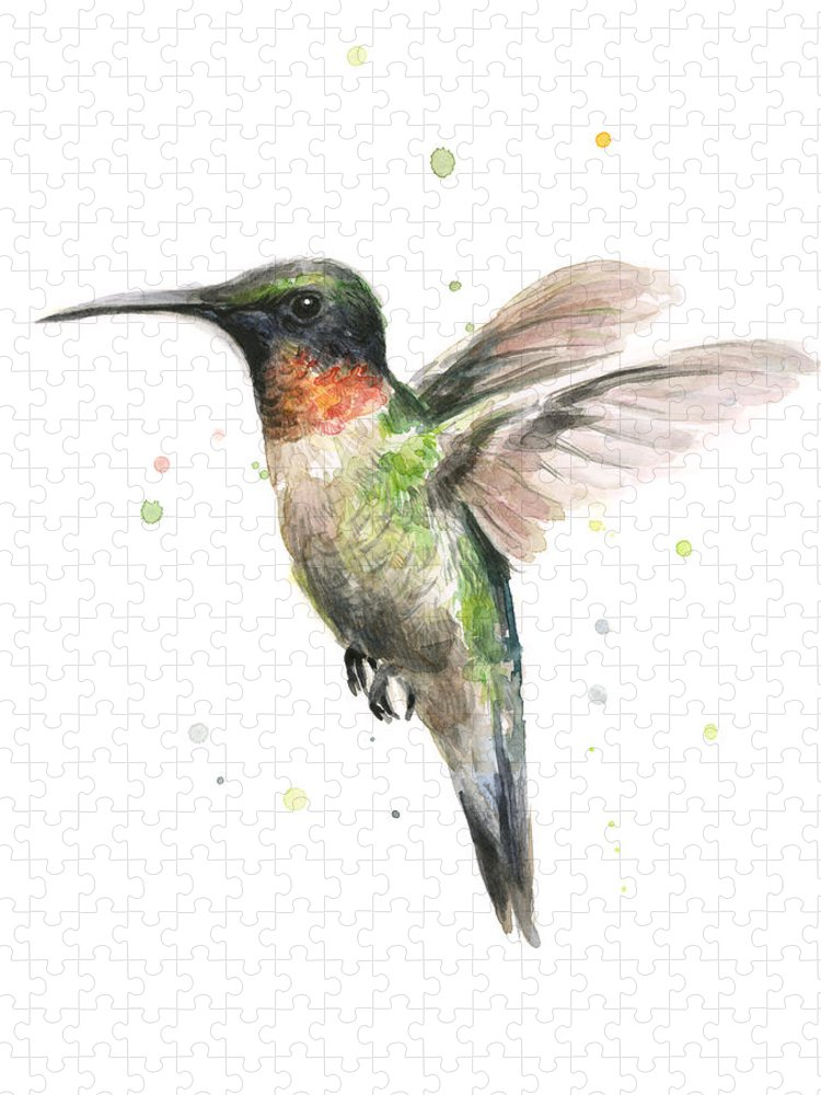Animal Puzzle featuring the painting Hummingbird by Olga Shvartsur