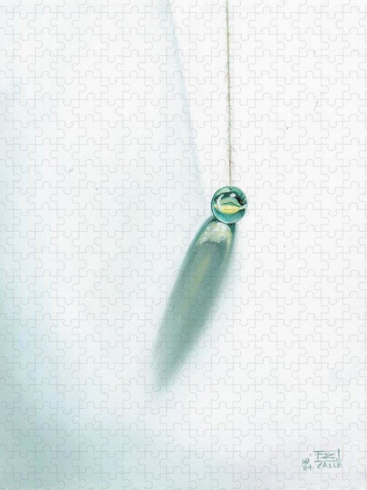Marble Hanging By String Puzzle featuring the painting Illumination Within by Roger Calle