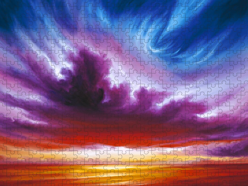 Sunrise; Sunset; Power; Glory; Cloudscape; Skyscape; Purple; Red; Blue; Stunning; Landscape; James C. Hill; James Christopher Hill; Jameshillgallery.com; Ocean; Lakes; Genesis; Creation; Quantom; Singularity Puzzle featuring the painting In the Beginning by James Christopher Hill