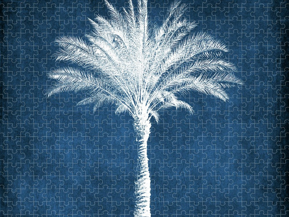 Palm Tree Puzzle featuring the mixed media Indigo and White Palm Tree- Art by Linda Woods by Linda Woods