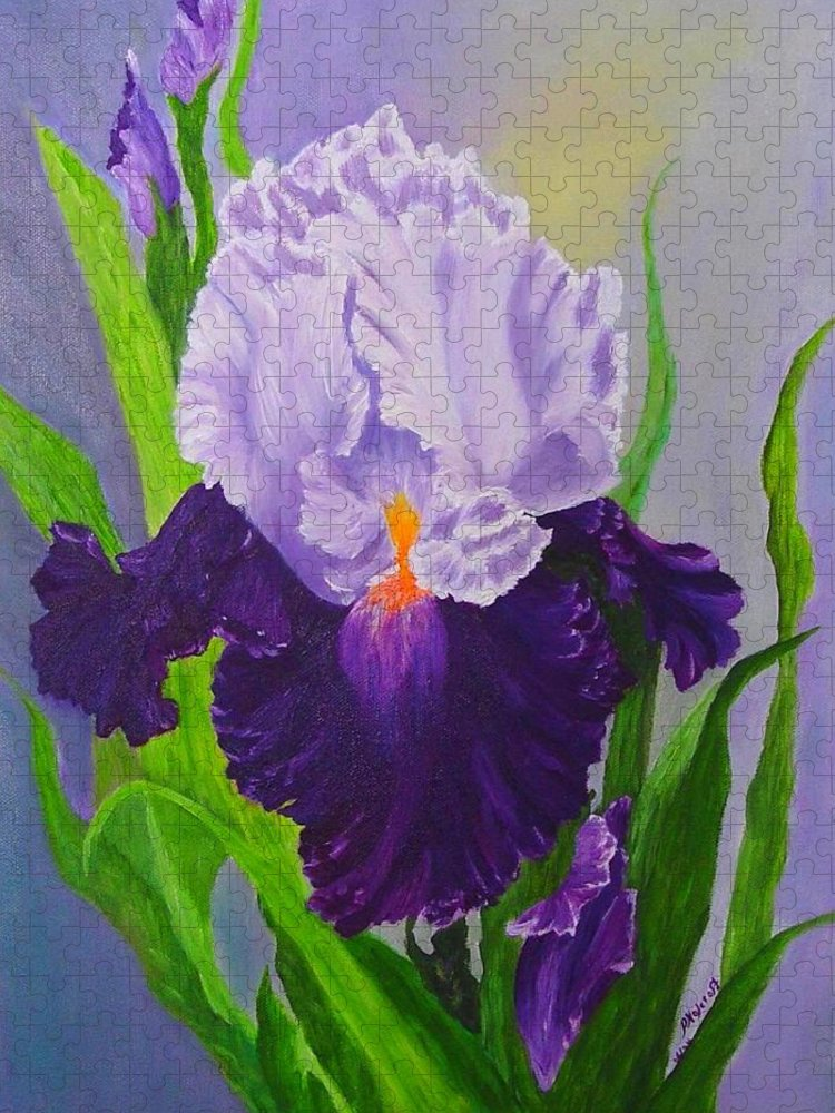 Floral Painting Puzzle featuring the painting Iris by Peggy Holcroft