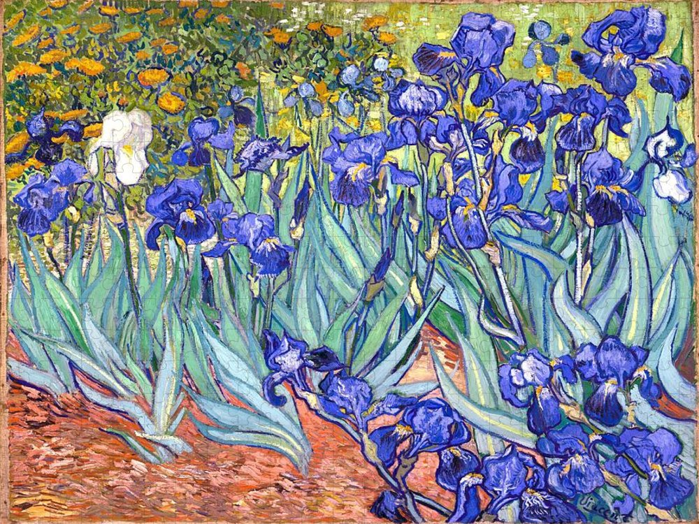 Van Gogh Puzzle featuring the painting Irises by Van Gogh