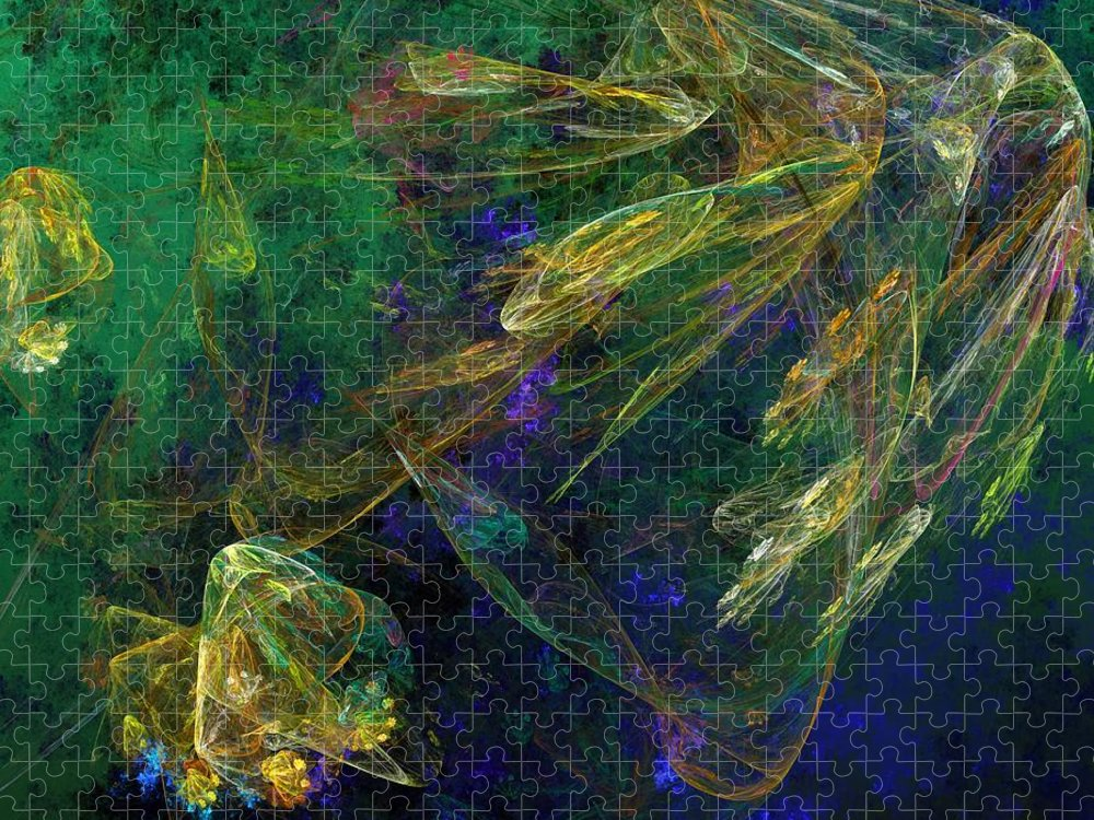Fantasy Puzzle featuring the digital art Jelly Fish Diving the Reef Series 1 by David Lane