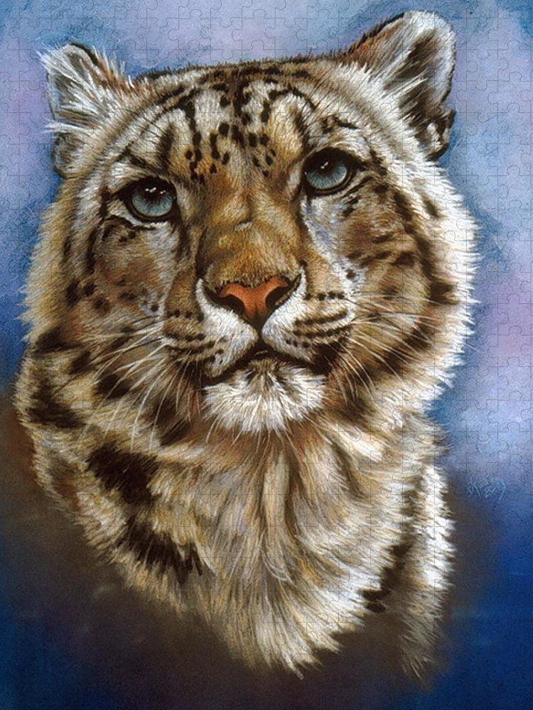Snow Leopard Puzzle featuring the pastel Jewel by Barbara Keith