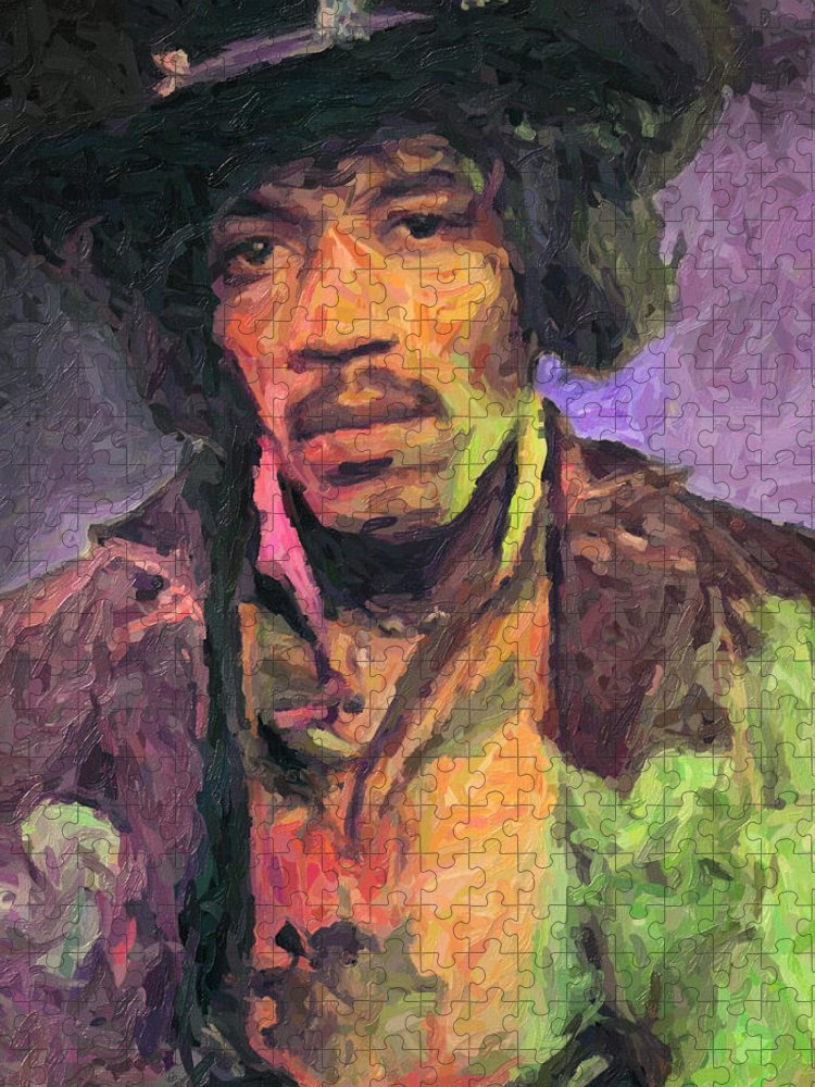 Jimi Hendrix Puzzle featuring the painting Jimi Hendrix by Zapista OU