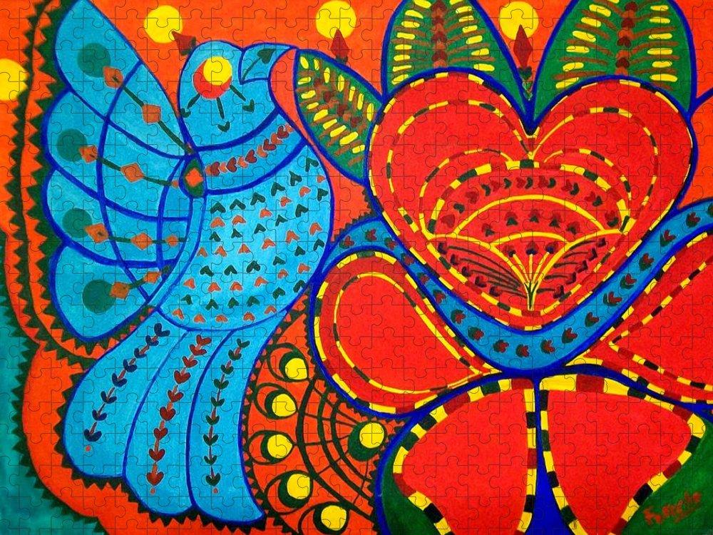 Contemporary Folk Puzzle featuring the painting Jinga Bird - Jinga bird by Fareeha Khawaja