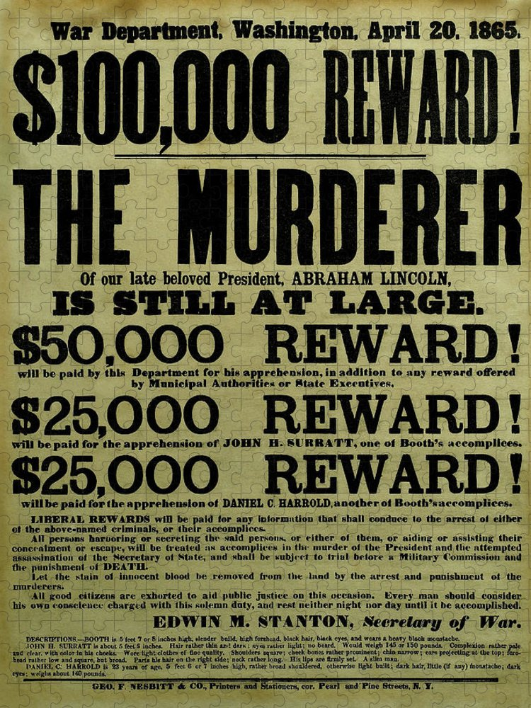 Wanted Puzzle featuring the mixed media John Wilkes Booth Wanted Poster by War Is Hell Store