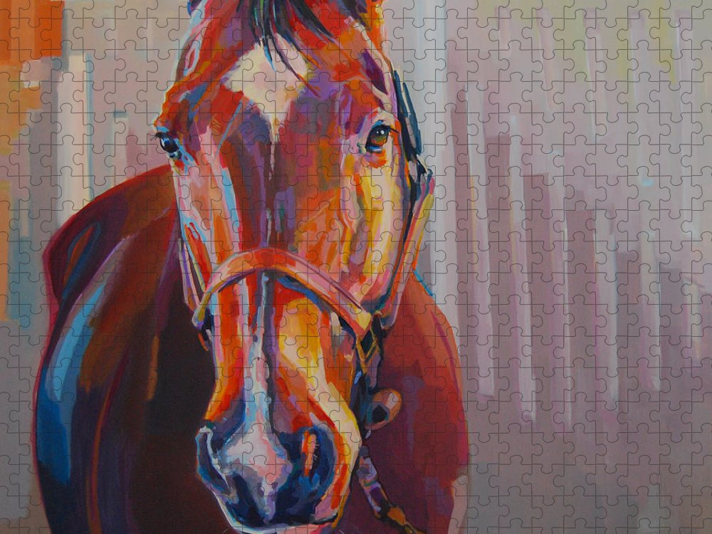 Equine Painting Puzzle featuring the painting JT by Kimberly Santini