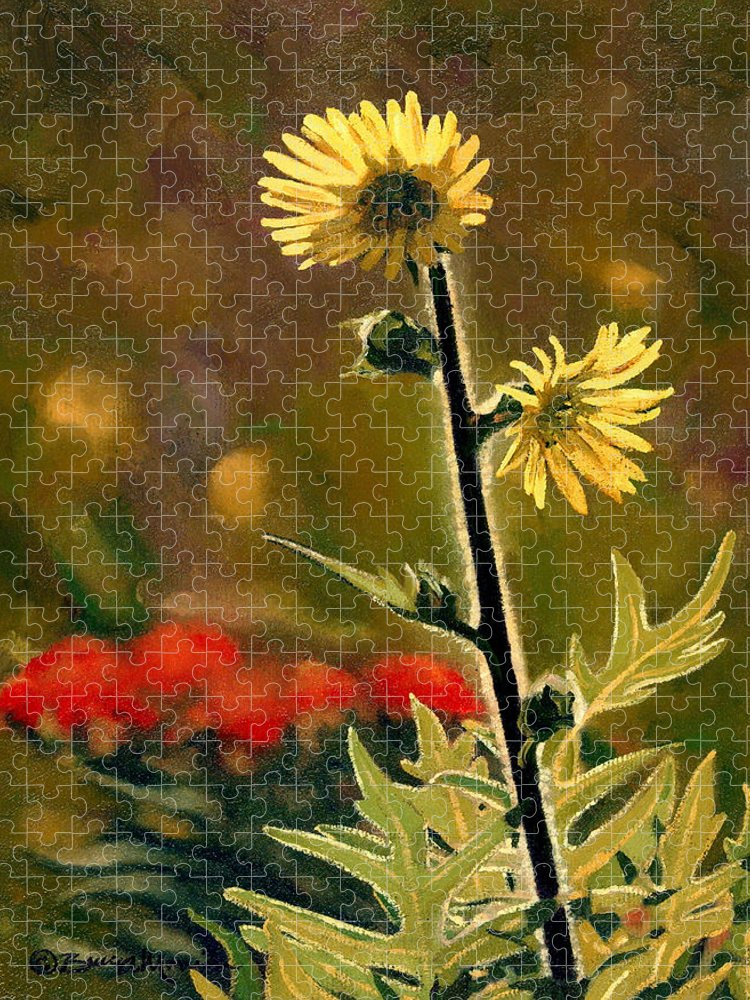 Prairie Flowers Puzzle featuring the painting July Afternoon-Compass Plant by Bruce Morrison