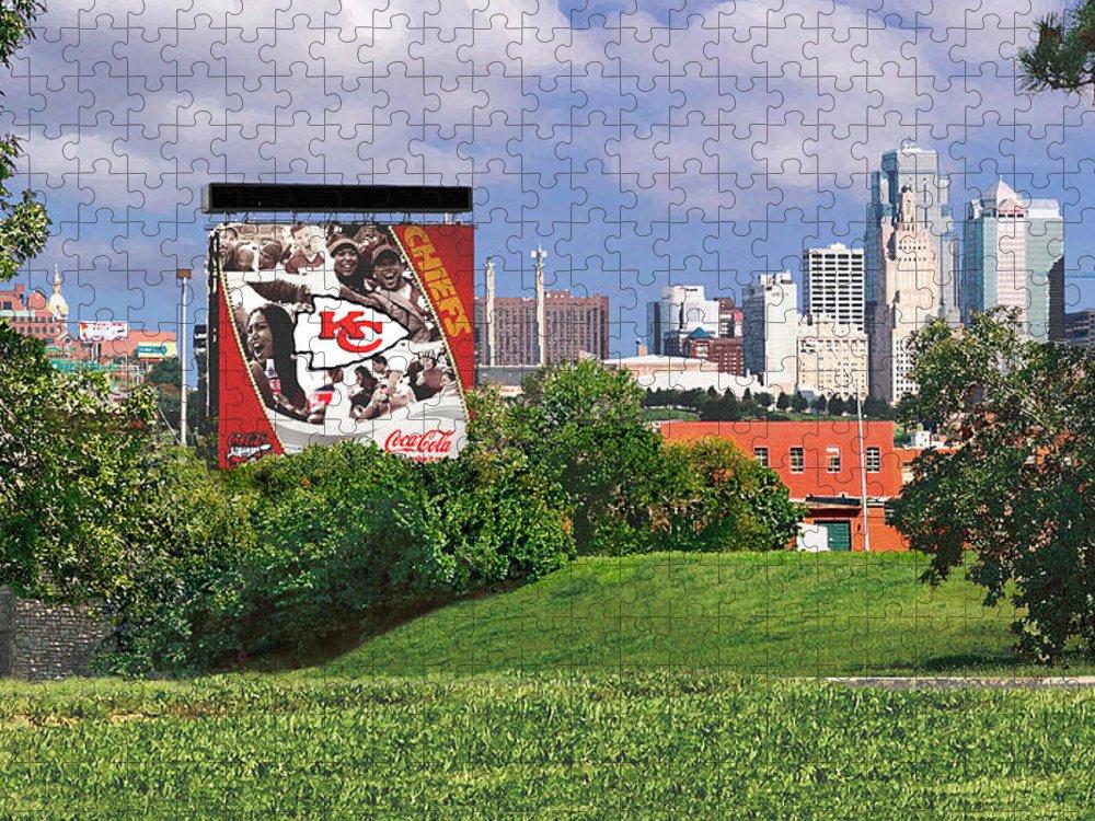 Landscape Puzzle featuring the photograph Kansas City Sky Line by Steve Karol