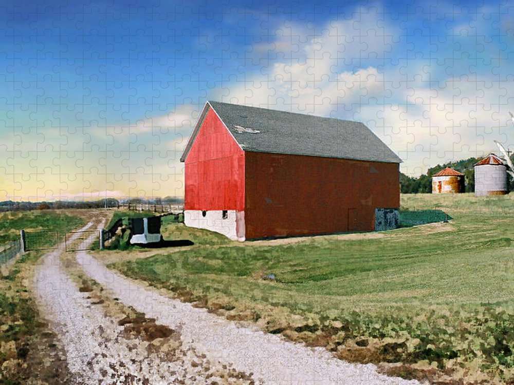 Barn Puzzle featuring the photograph Kansas landscape II by Steve Karol