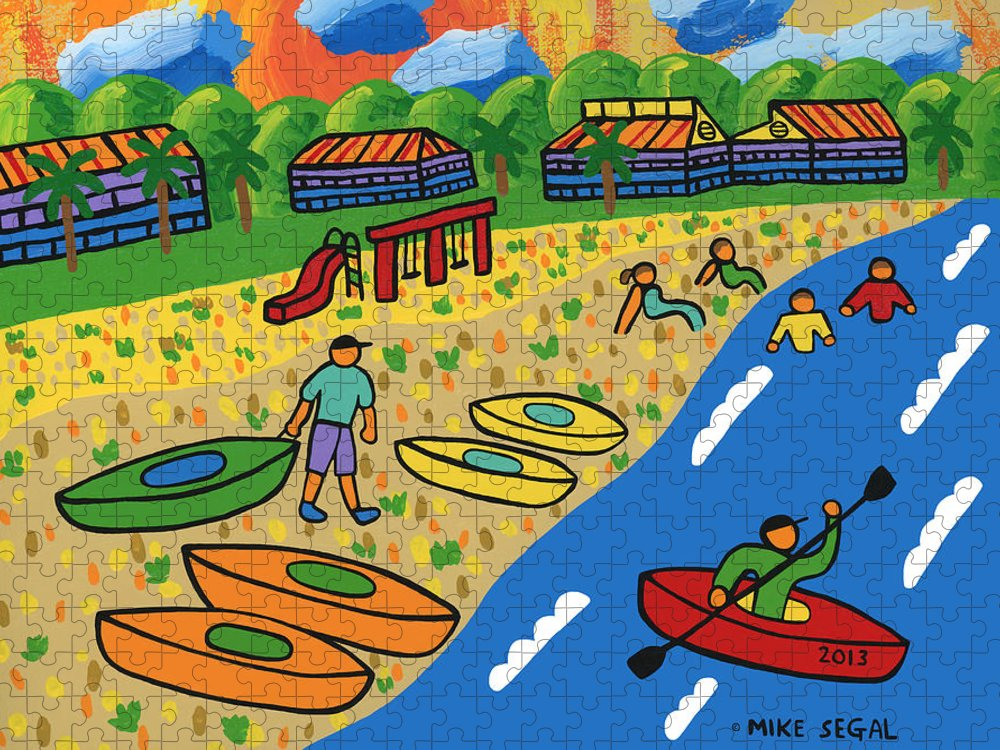 Kayak Puzzle featuring the painting Kayak Beach - Cedar Key by Mike Segal