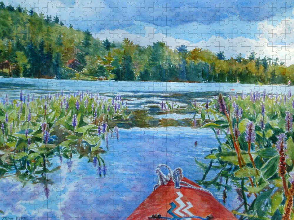 Boat Puzzle featuring the painting Kayaking at Paradox Lake by Mira Fink