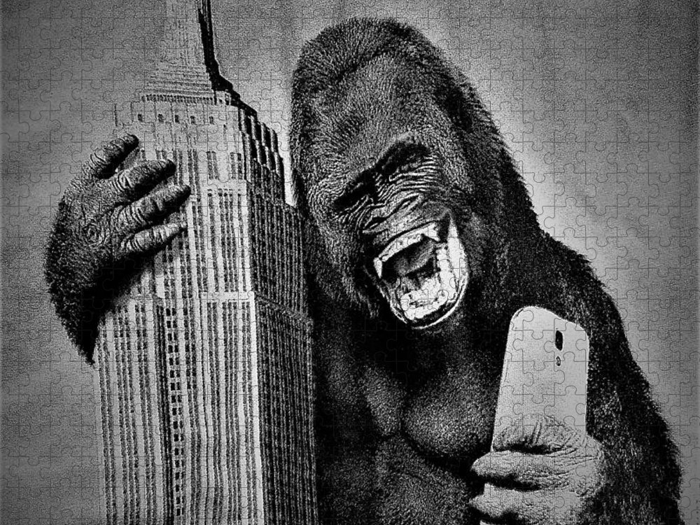 Architecture Puzzle featuring the photograph King Kong Selfie B W by Rob Hans