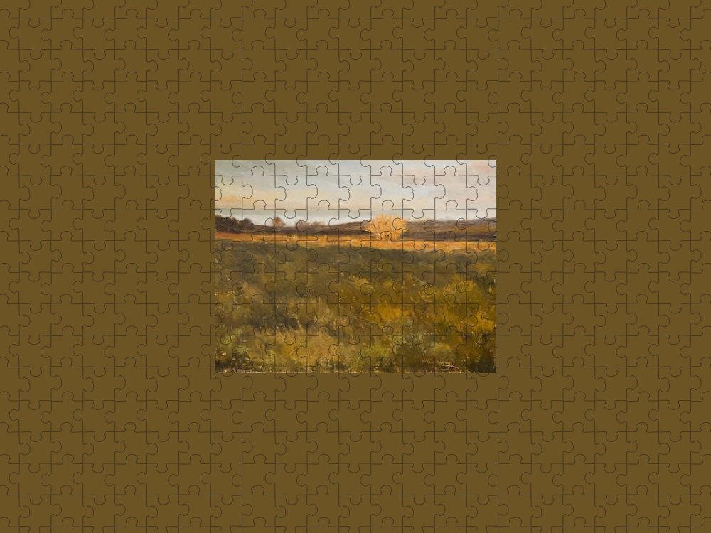Landscape Puzzle featuring the painting KM1029 Last Light by Kit Hevron Mahoney