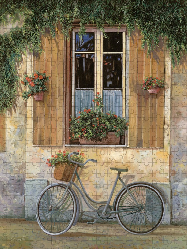 Bike Puzzle featuring the painting La Bicicletta by Guido Borelli