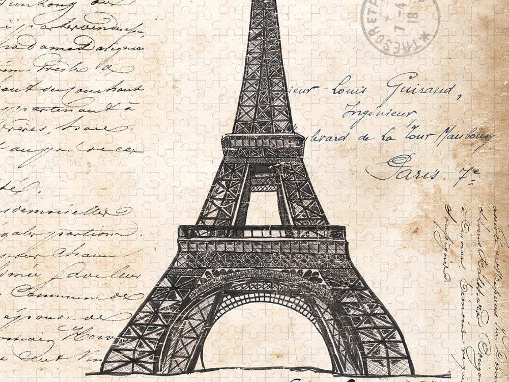 Eiffel Tower Puzzle featuring the painting La Tour Eiffel by Debbie DeWitt