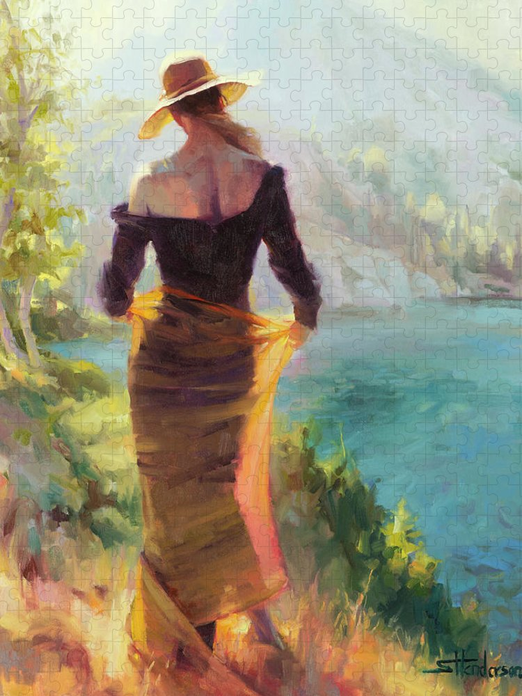 Woman Puzzle featuring the painting Lady of the Lake by Steve Henderson