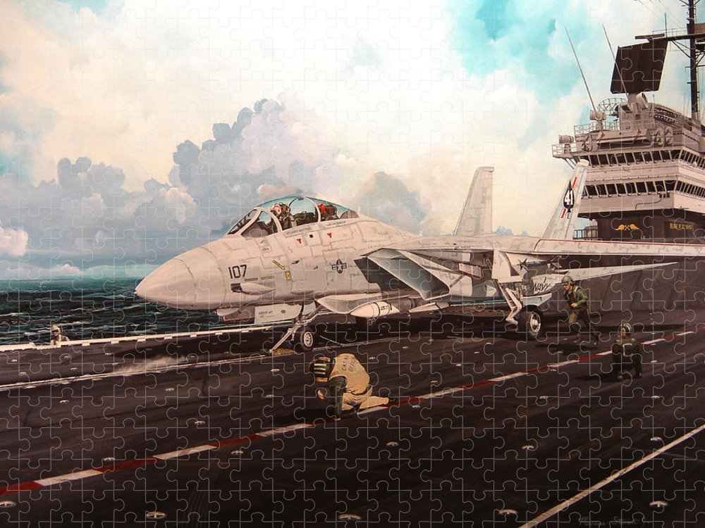 Military Puzzle featuring the painting Launch The Alert 5 by Marc Stewart