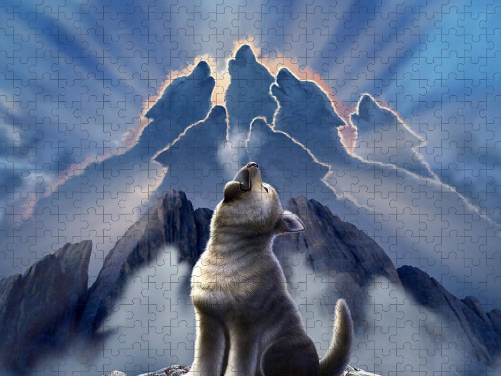 Wolf Puzzle featuring the digital art Leader of the Pack by Jerry LoFaro
