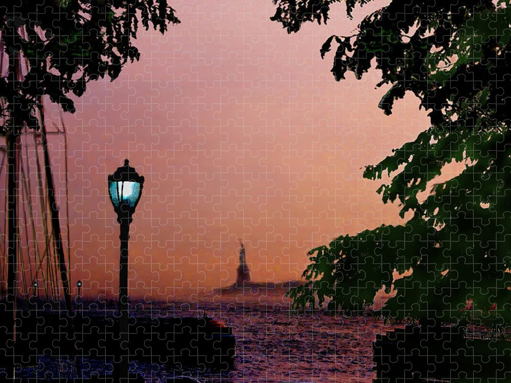 Seascape Puzzle featuring the digital art Liberty Fading seascape by Steve Karol