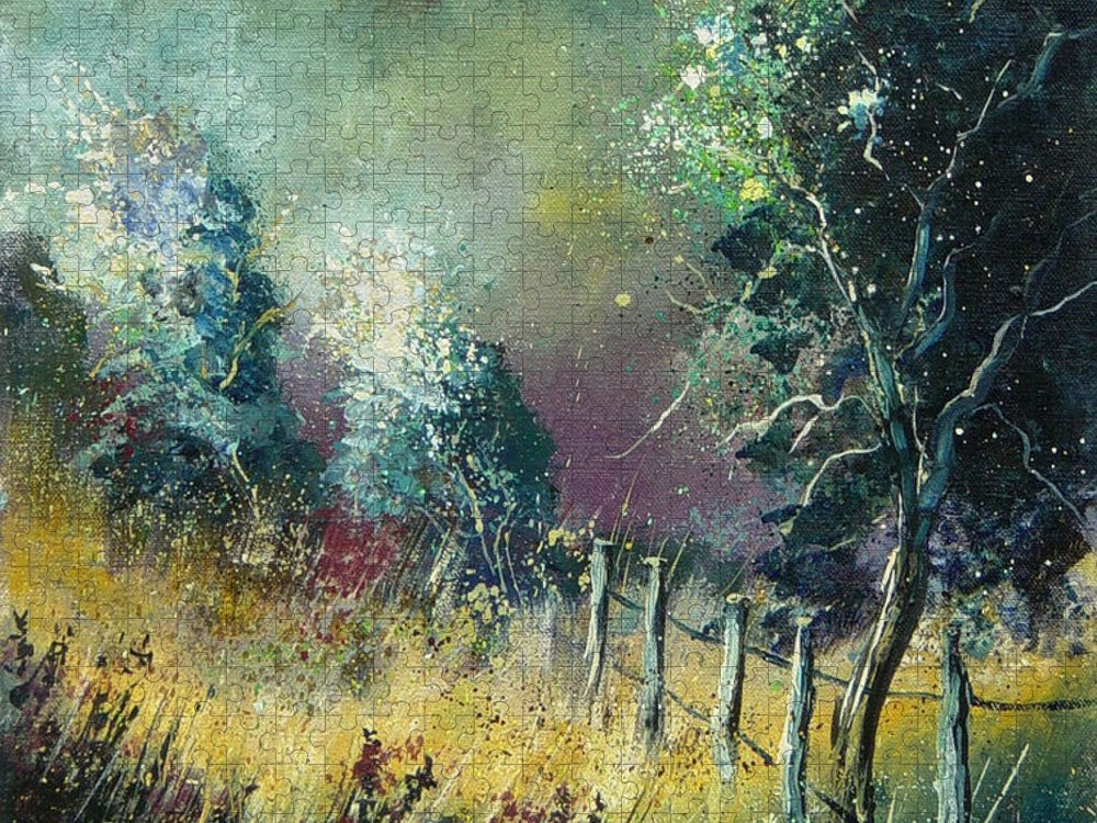 Landscape Puzzle featuring the painting Light on trees by Pol Ledent