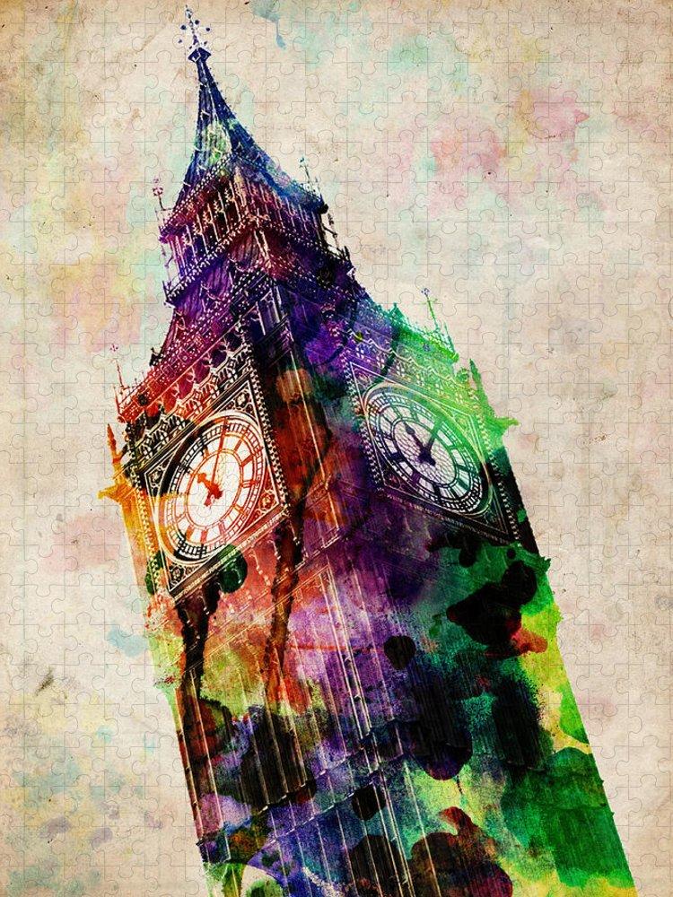 London Puzzle featuring the digital art London Big Ben Urban Art by Michael Tompsett