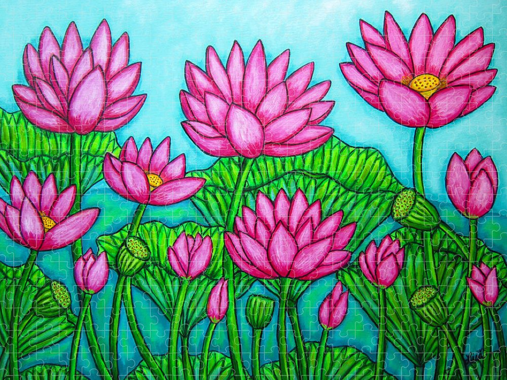 Lotus Puzzle featuring the painting Lotus Bliss II by Lisa Lorenz