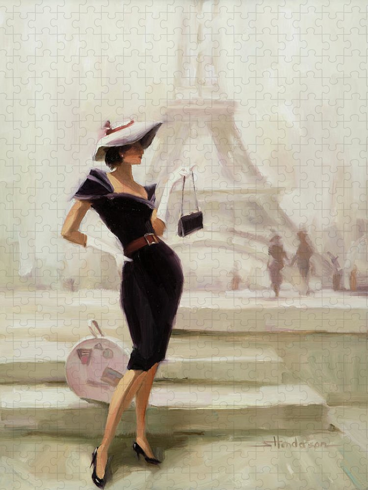 Paris Puzzle featuring the painting Love, from Paris by Steve Henderson