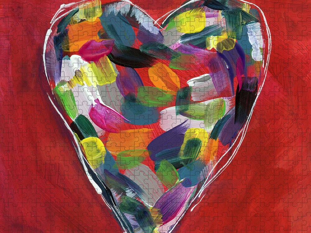 Heart Puzzle featuring the painting Love Is Colorful - Art by Linda Woods by Linda Woods