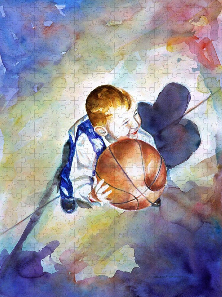 Watercolor Puzzle featuring the painting Loves the Game by Shannon Grissom
