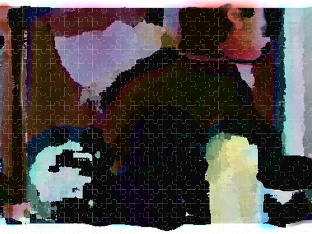 Abstract Expressionism Puzzle featuring the painting Lunch counter by Steve Karol