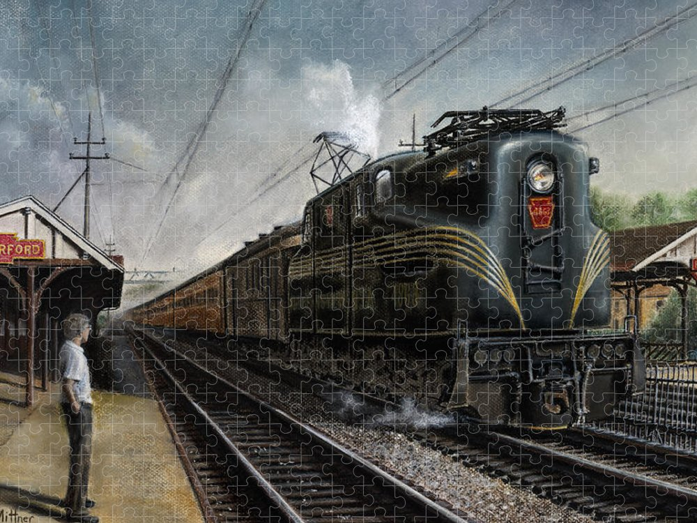Trains Puzzle featuring the painting Mainline Memories by David Mittner