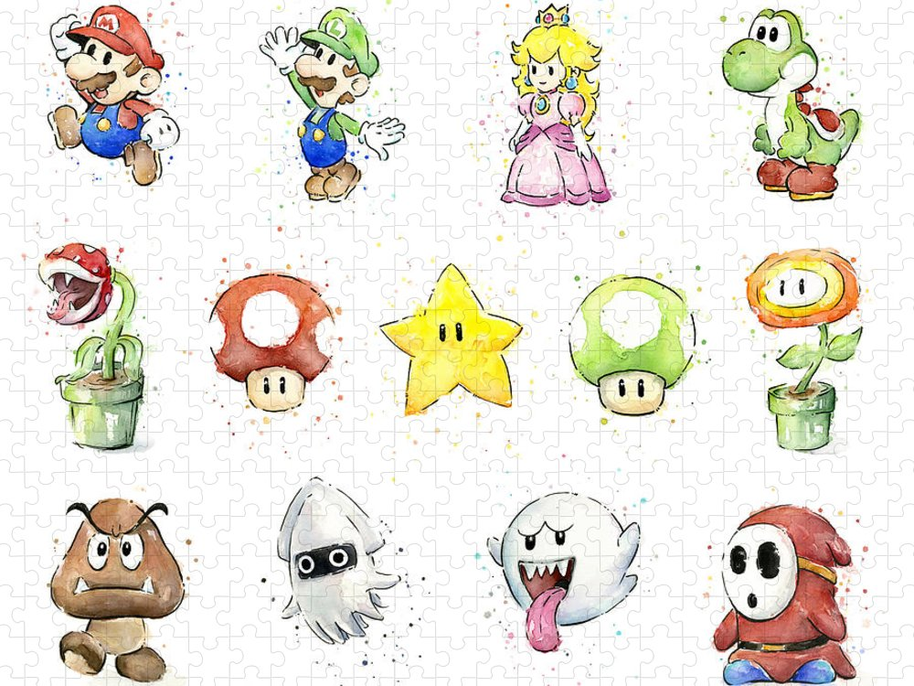 Mario Puzzle featuring the painting Mario Characters in Watercolor by Olga Shvartsur