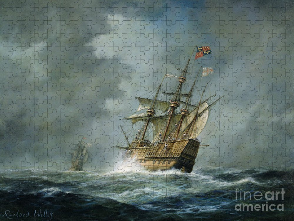 Mary Rose Puzzle featuring the painting Mary Rose by Richard Willis