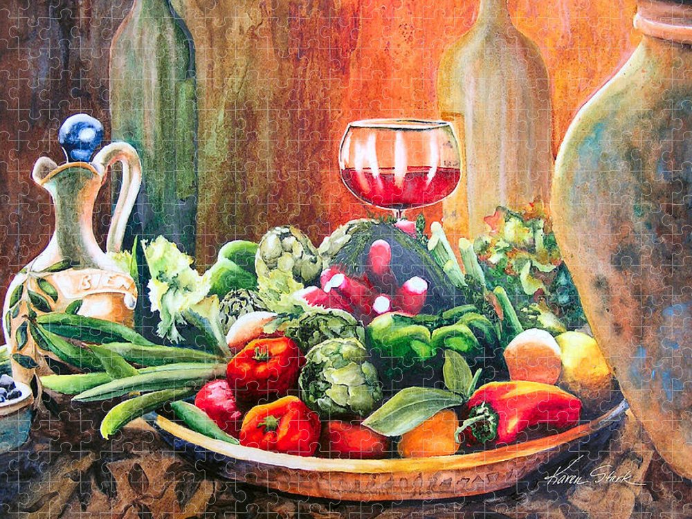 Still Life Puzzle featuring the painting Mediterranean Table by Karen Stark