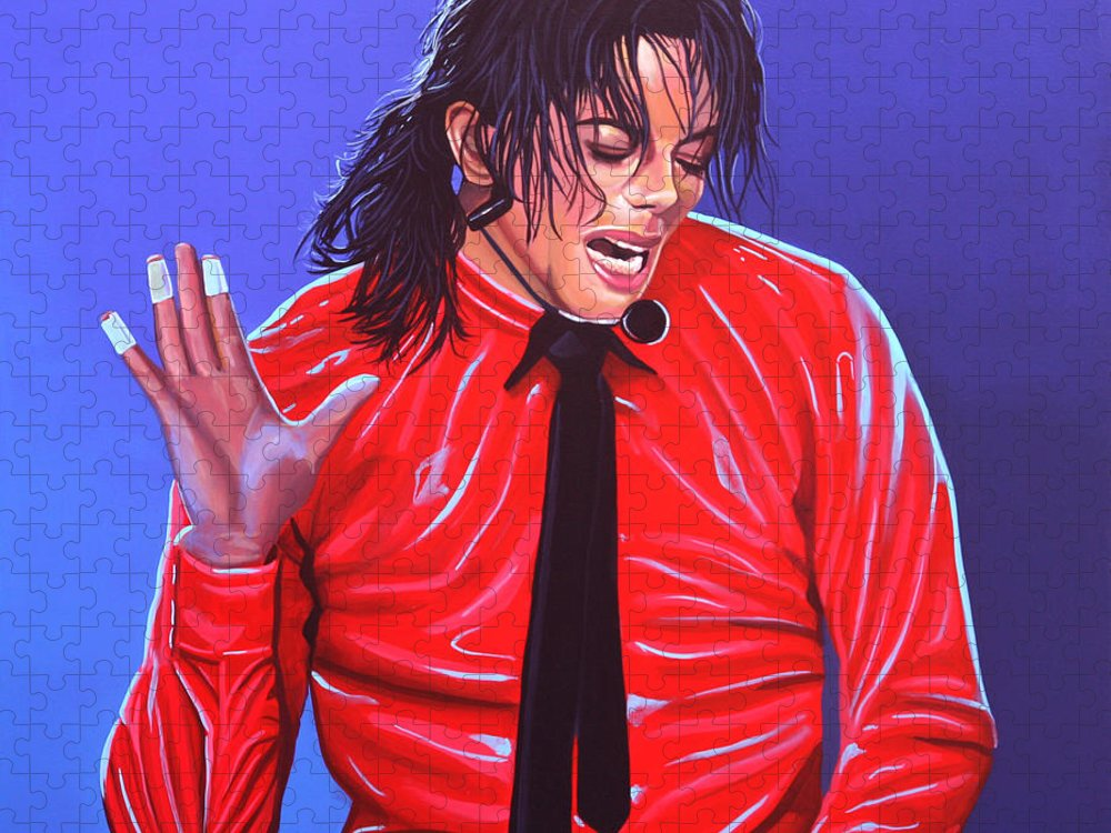 Michael Jackson Puzzle featuring the painting Michael Jackson 2 by Paul Meijering