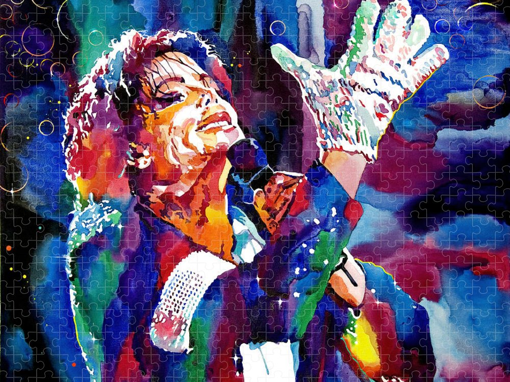 Michael Puzzle featuring the painting Michael Jackson Sings by David Lloyd Glover