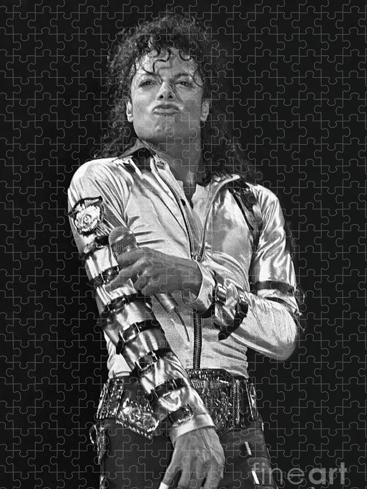 Music Legend Michael Jackson Is Shown Performing On Stage During A Live Concert Appearance Puzzle featuring the photograph Michael Jackson - The King of Pop by Concert Photos