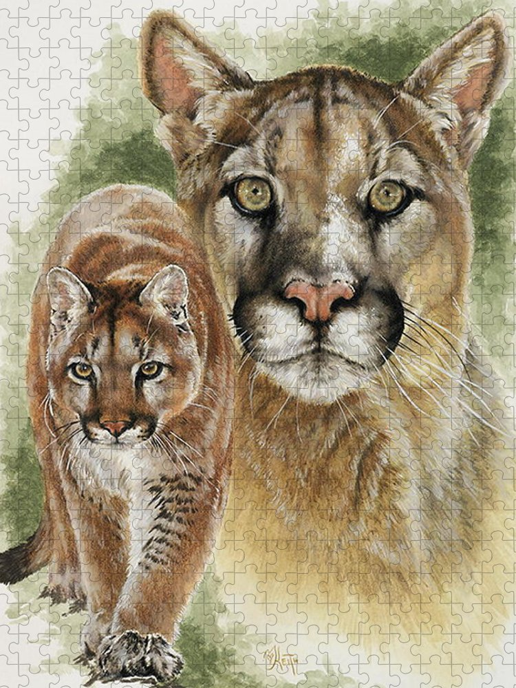 Cougar Puzzle featuring the mixed media Mighty by Barbara Keith