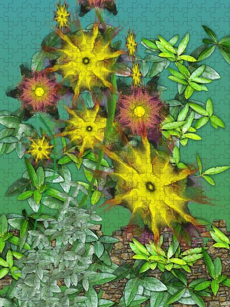 Flowers Puzzle featuring the digital art Mixed Flowers by David Lane