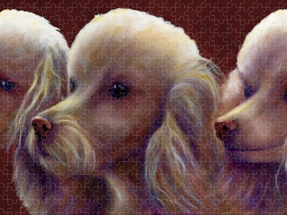 Dogs Puzzle featuring the painting Molly Charlie and Abby by Shannon Grissom