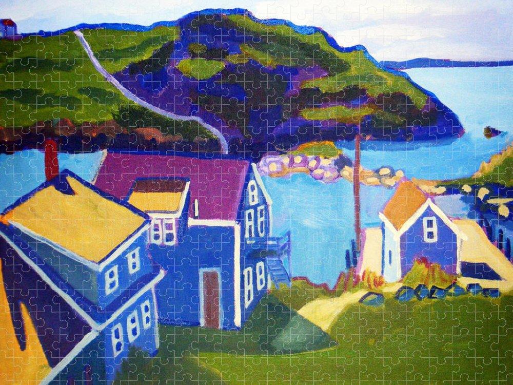 Seascape Puzzle featuring the painting Monhegan Harbor by Debra Bretton Robinson