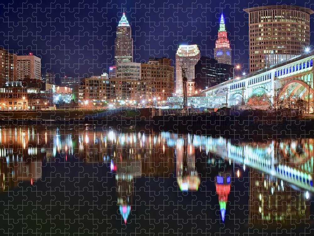 Cleveland Puzzle featuring the photograph Mood Lighting by Frozen in Time Fine Art Photography