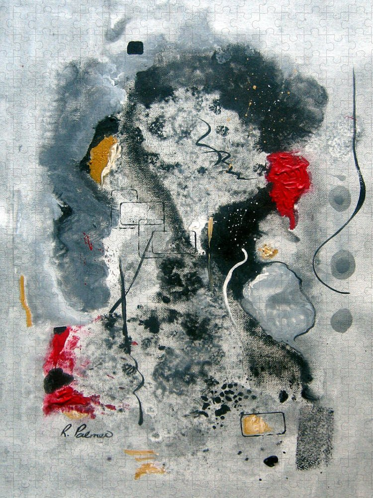 Abstract Puzzle featuring the painting Moods by Ruth Palmer