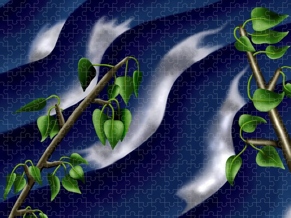 Surrealism Puzzle featuring the digital art Moon-glow I - Poplars Over Water At Night by Robert Morin